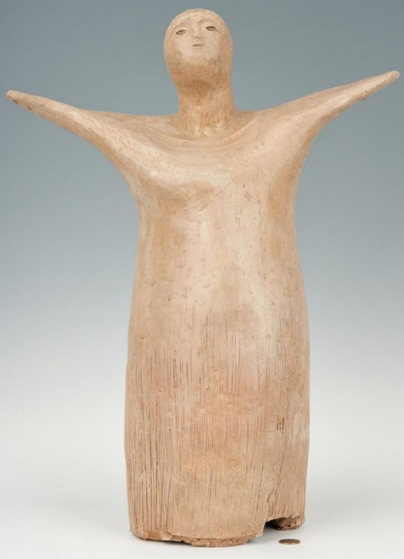 Lot 271: Olen Bryant Terra Cotta Angel, Exhibited
