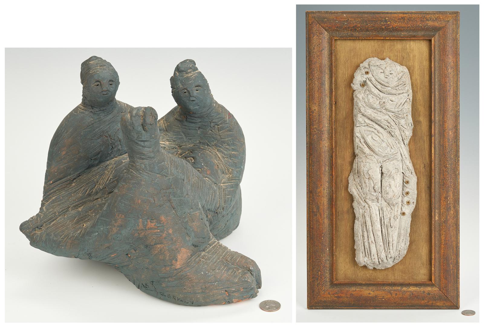 Lot 272: Olen Bryant Framed Figure and Blue Figural Group