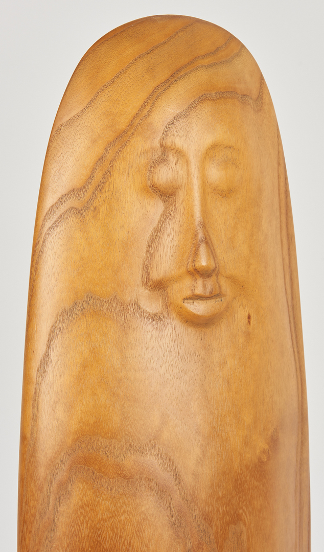 Lot 273: Olen Bryant, Large Wood Figure with Green Stones