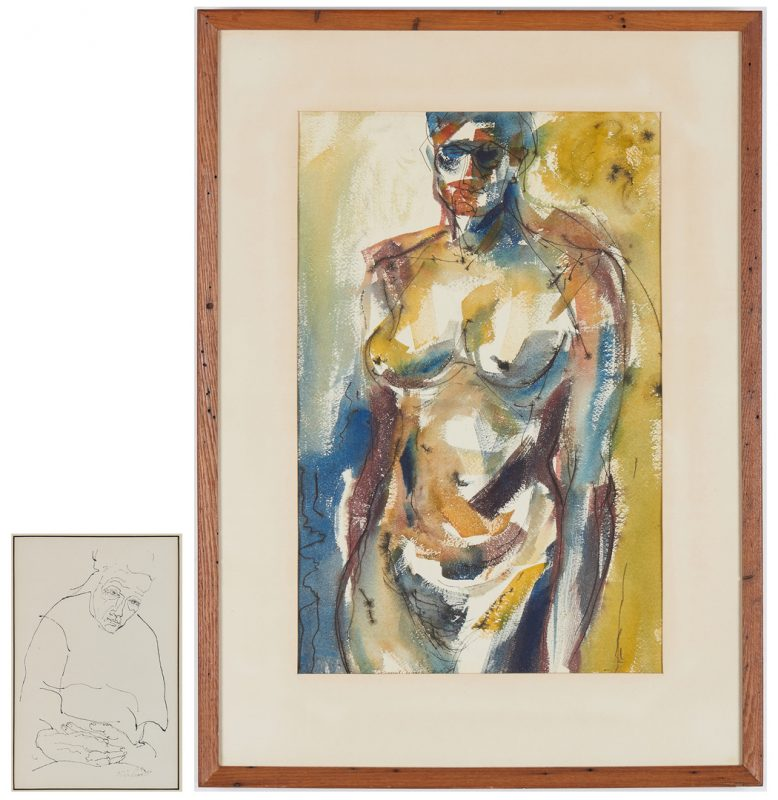 Lot 277: R. Birdwell drawing & C. K. Ewing Watercolor, Figures