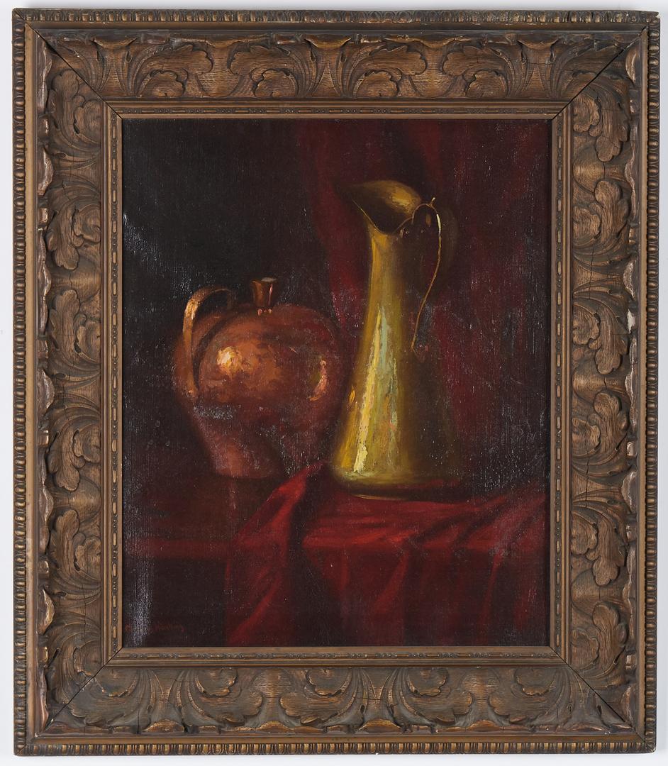 Lot 279: Cornelius Hankins O/C, Still Life with Copper Pot Still and Pitcher
