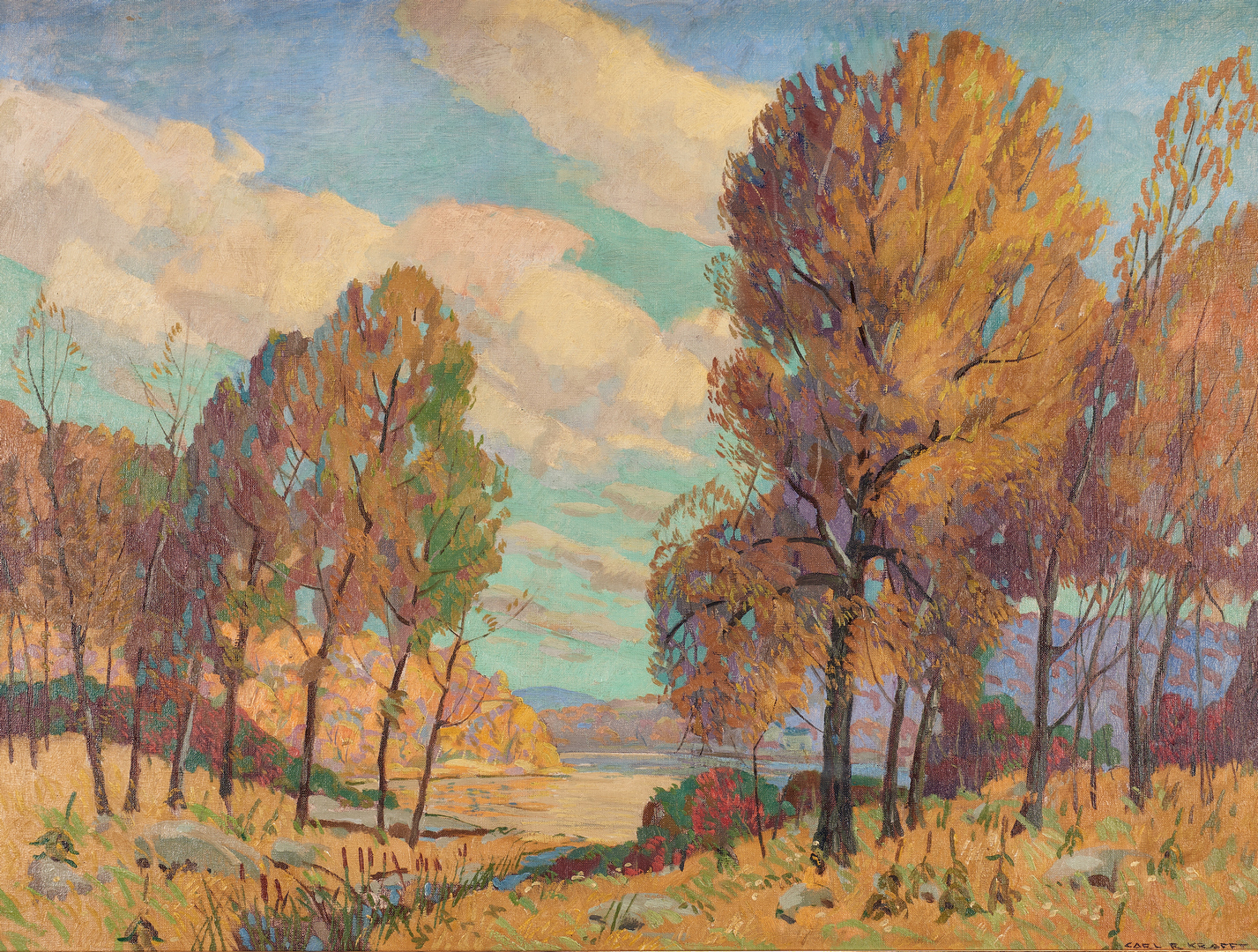 Lot 283: Carl Krafft Autumn Landscape O/C