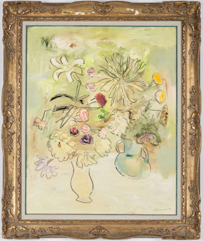 Lot 287: Sterling Strauser O/B Floral Still Life