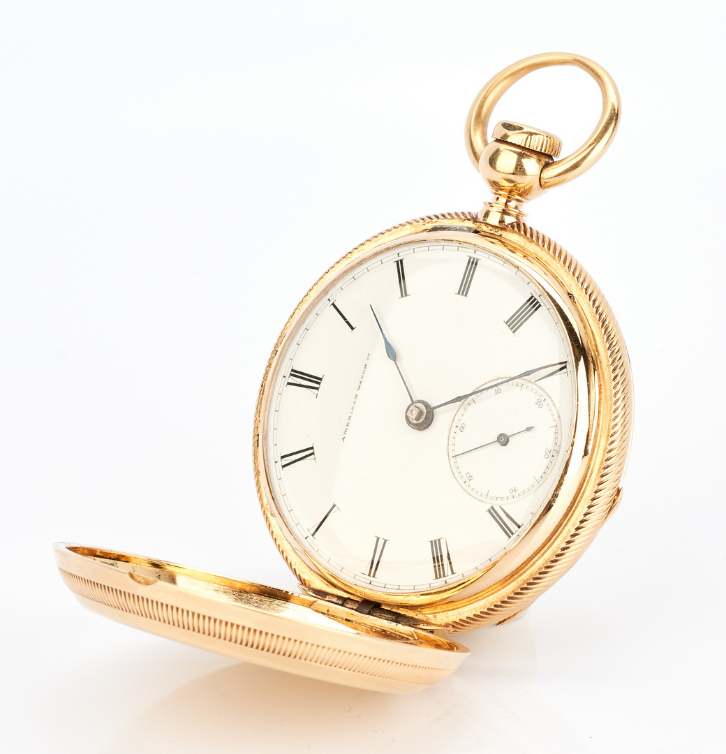 Lot 28: 18K Waltham Hunting Case Watch, 1857