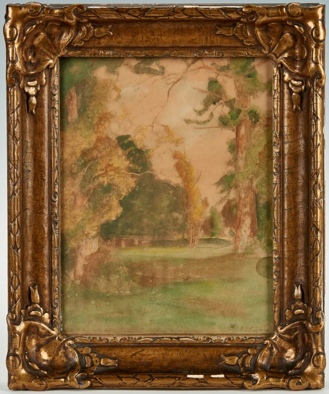 Lot 291: Attr. George Inness, Watercolor Landscape