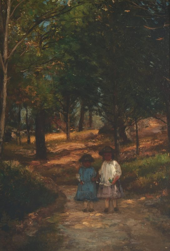 Lot 292: Joseph Foxcroft Cole O/B Painting, Landscape with Children