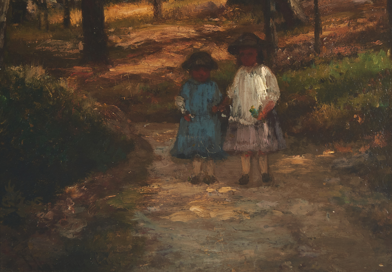 Lot 292: Joseph Foxcroft Cole O/B Painting, Landscape with Children