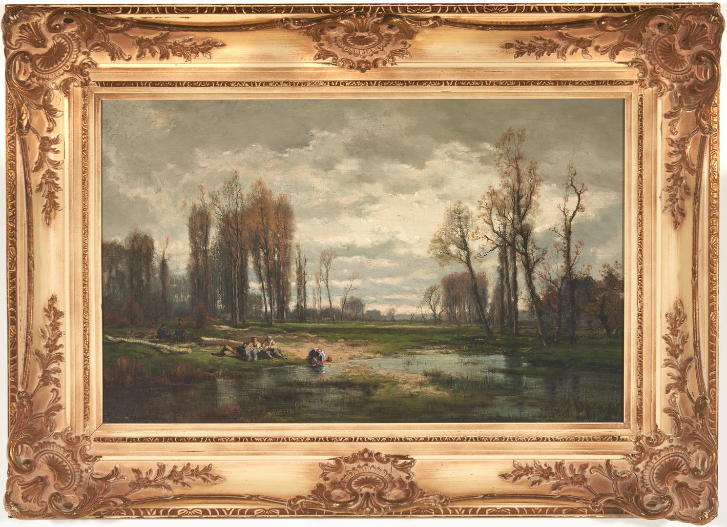 Lot 296: Grenet de Joigny O/C, Landscape w/ Pond