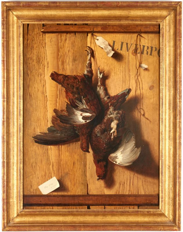 Lot 297: Antoine Dury O/C, Trompe L'Oeil Nature Morte with Pheasants