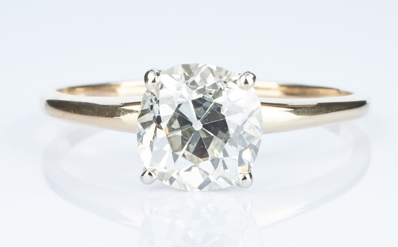 Lot 29: 2.13 CTW Mine Cut Diamond Ring, GIA (VS1, K)