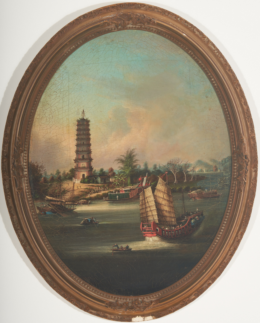 Lot 2: Pair of China Trade Scenes, U.S. Flag