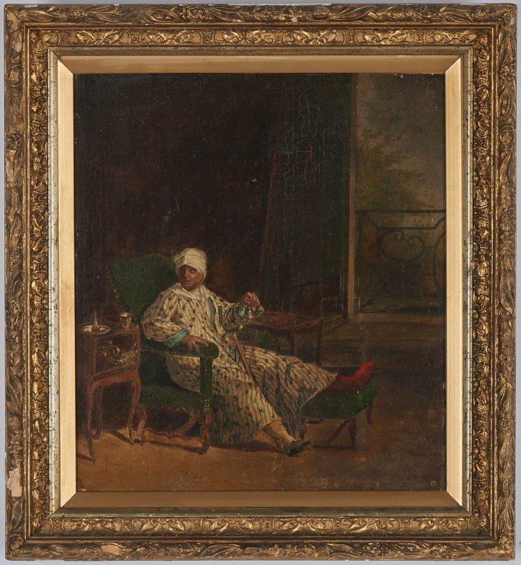 Lot 301: European School O/C Interior Scene, Man in Turban