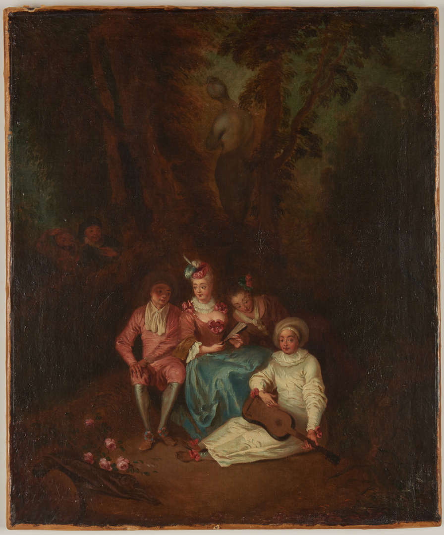 Lot 302: Continental Painting, manner of Watteau