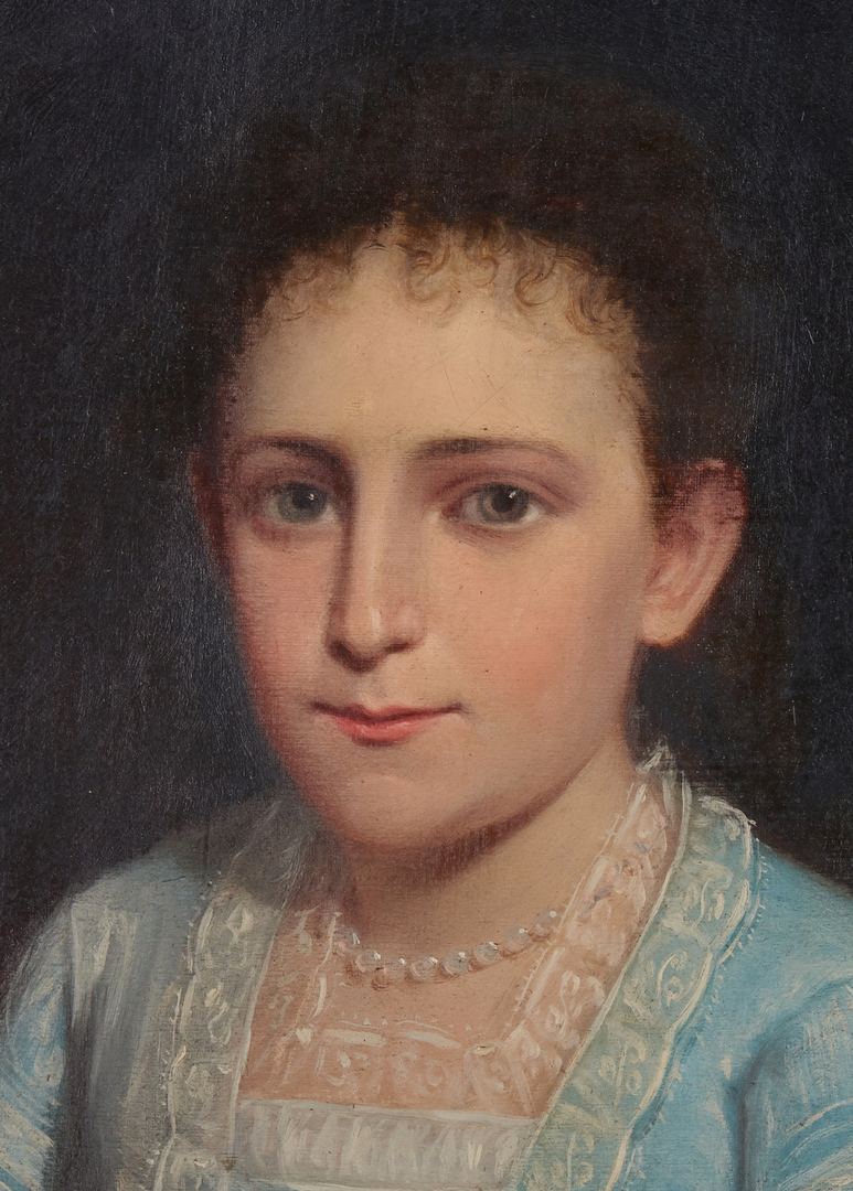 Lot 303: 18th century Portrait of a Girl in Blue Dress