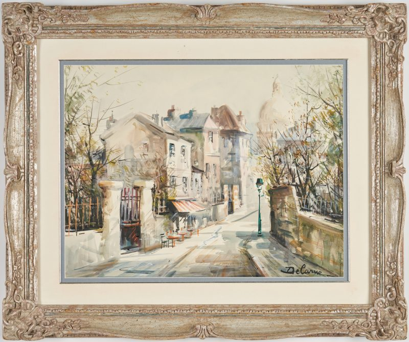 Lot 307: Lucien Delarue Watercolor Parisian Street Scene