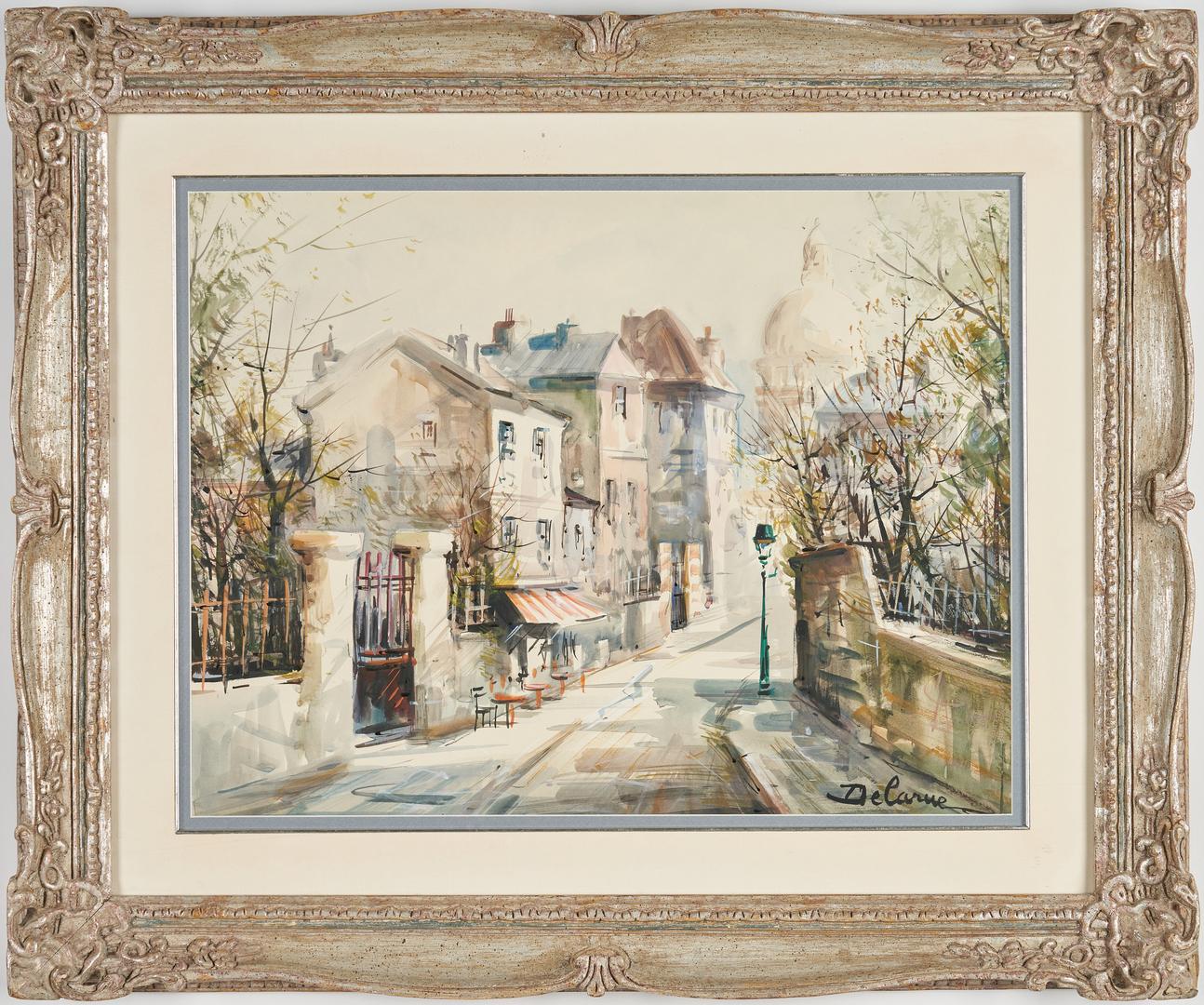 Lot 307: Lucien Delarue Watercolor Parisian Street Scene