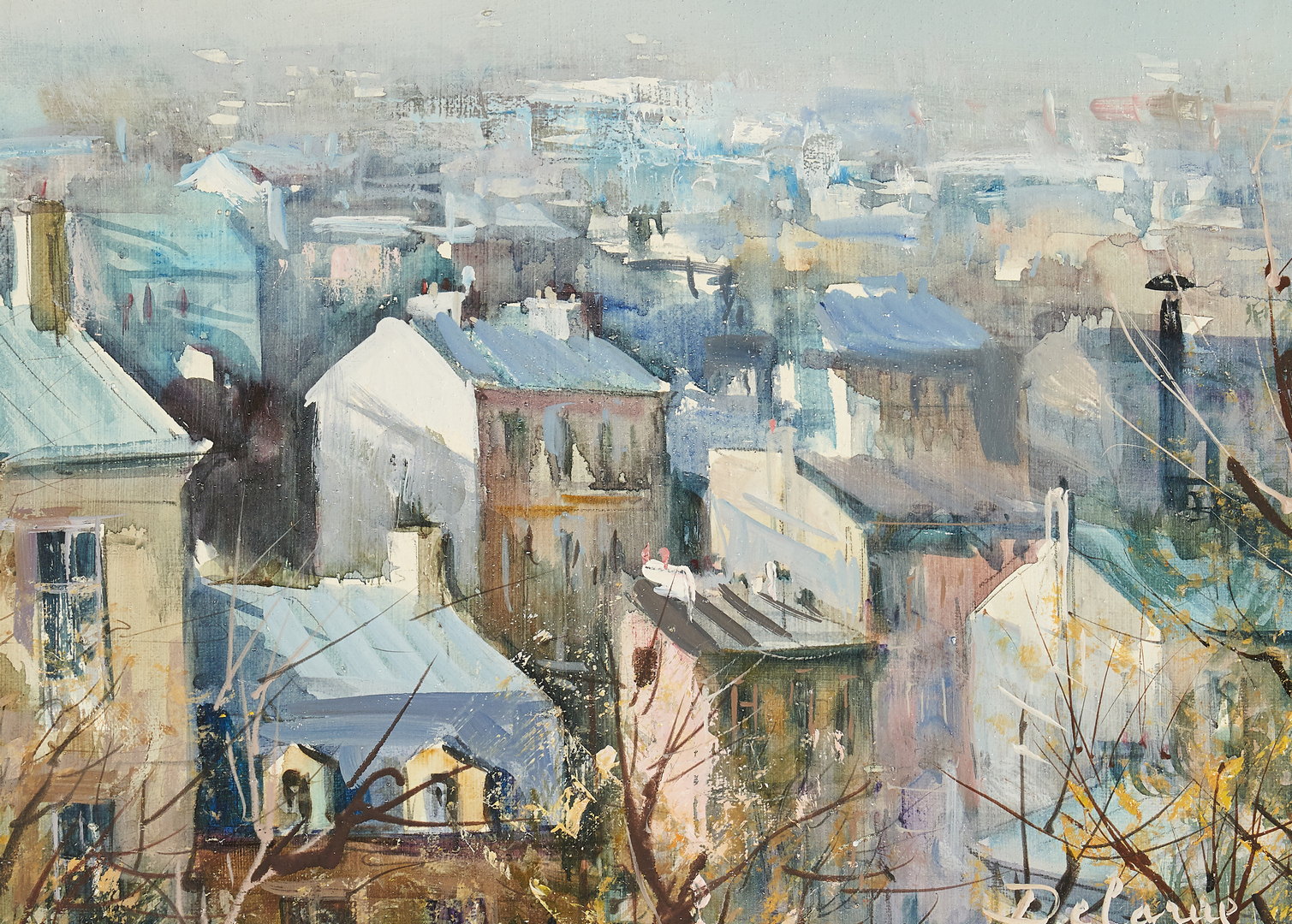 Lot 308: Lucien Delarue, O/C View of City