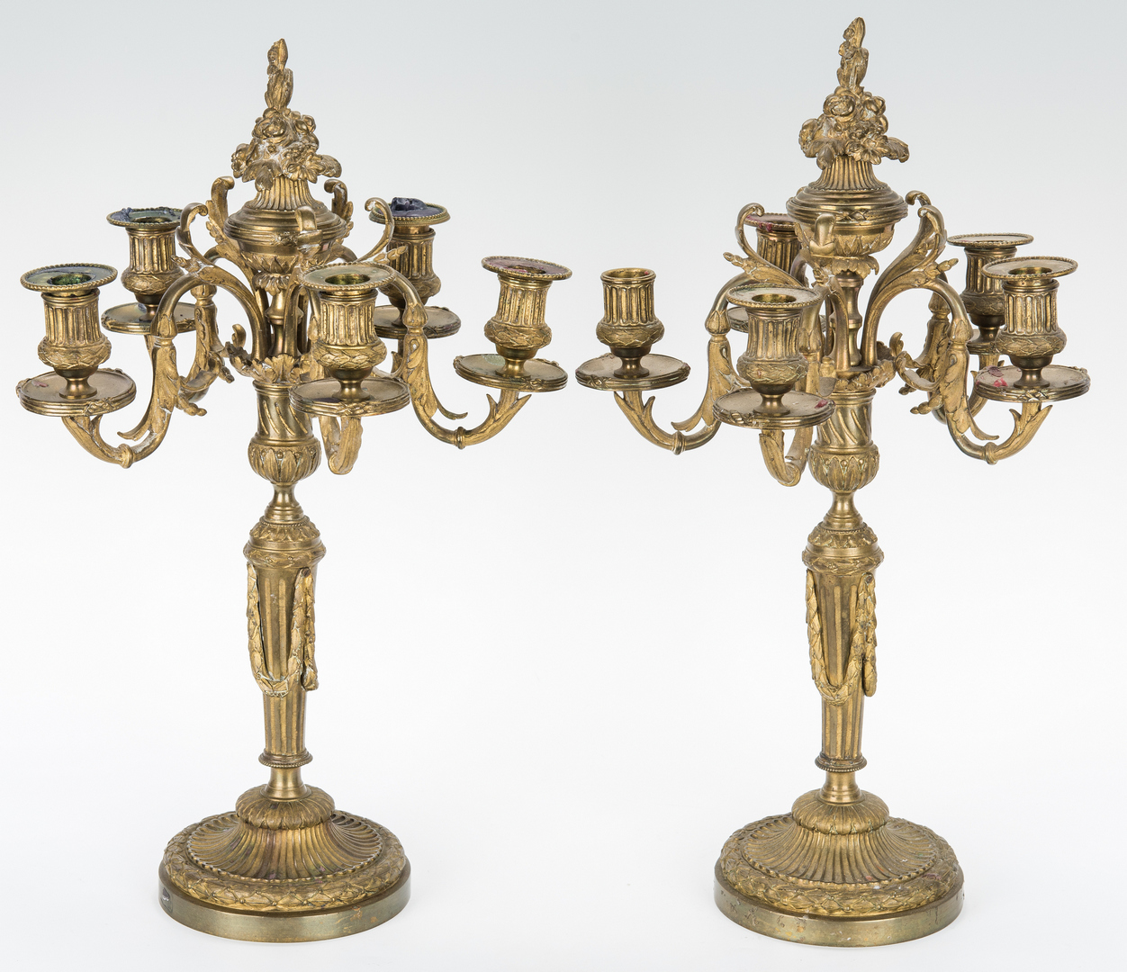 Lot 312: Pr. Neoclassical Style Gilt Bronze Candelabra