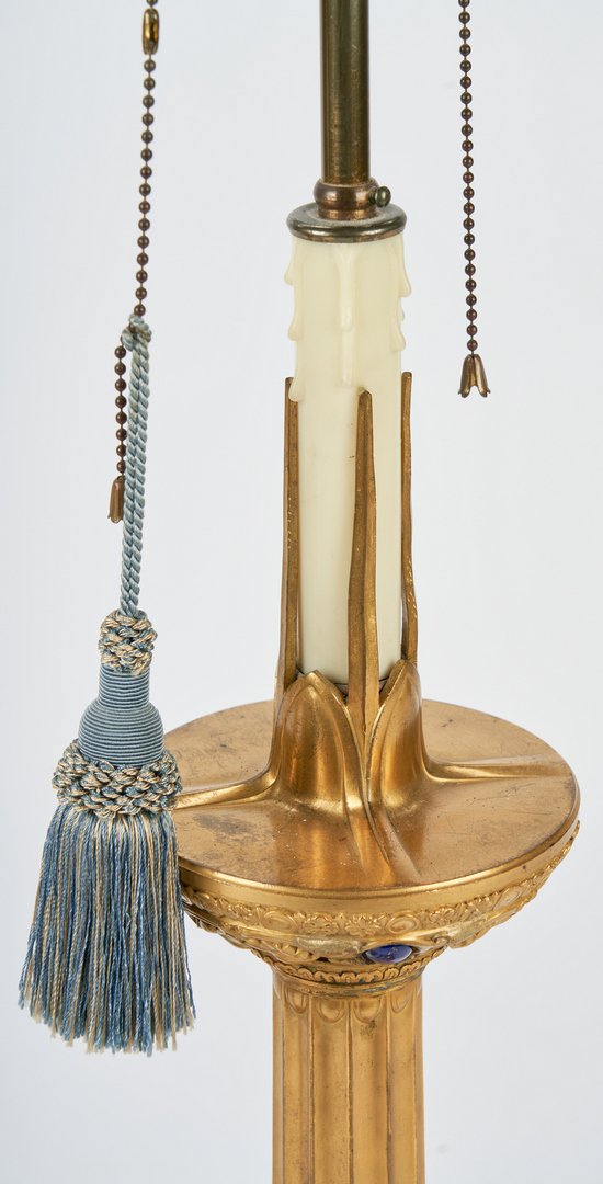 Lot 313: Pr Jeweled Gilt Bronze Candlestick Lamps