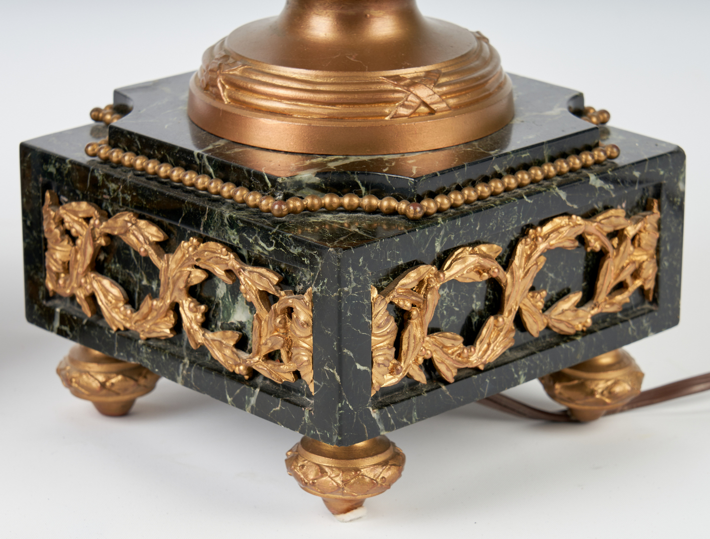 Lot 314: Pr Green Marble and Ormolu Neoclassical Urn Lamps