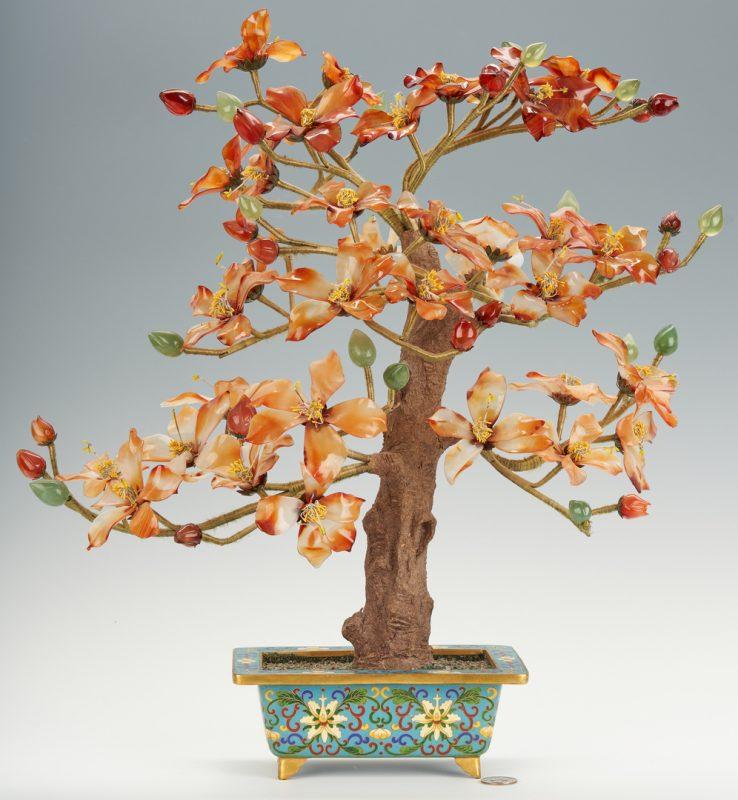 Lot 316: Chinese Hardstone Tree w/ Cloisonne Jardiniere