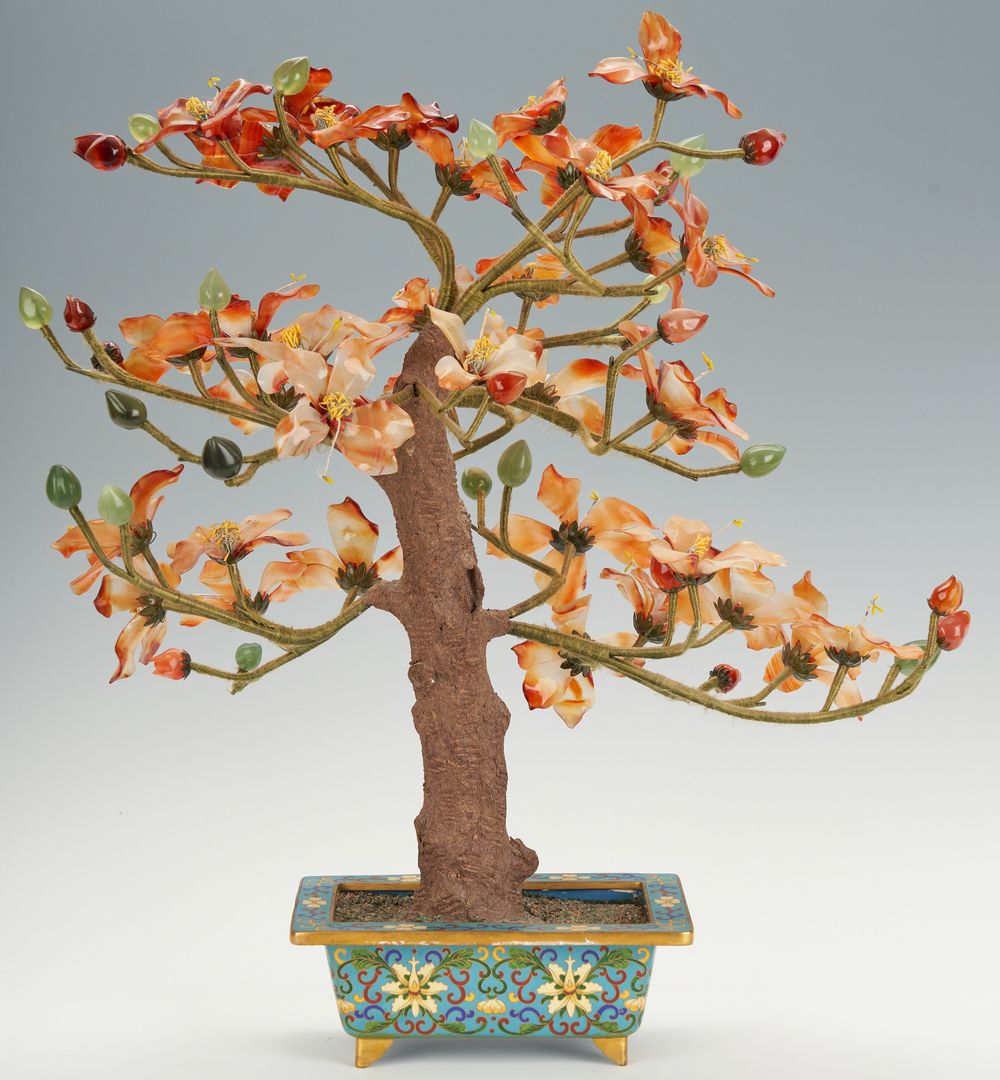 Lot 316: Chinese Hardstone Tree w/ Cloisonne Jardiniere