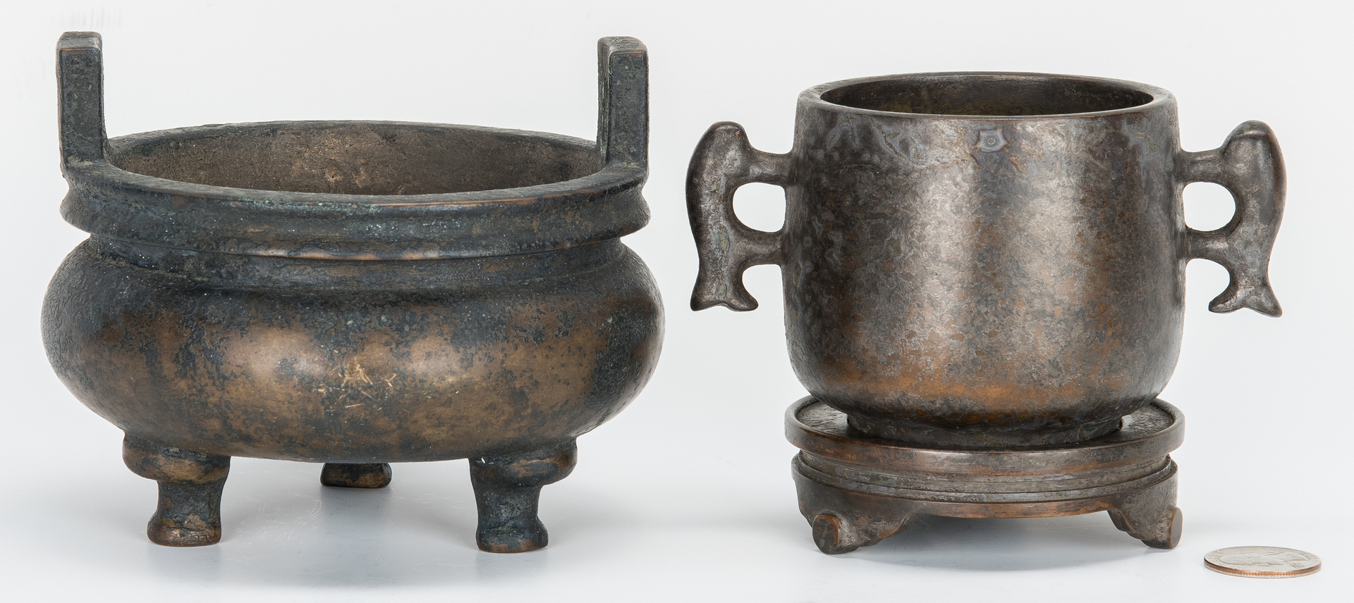 Lot 317: 2 Chinese Bronze Archaic Form Censers