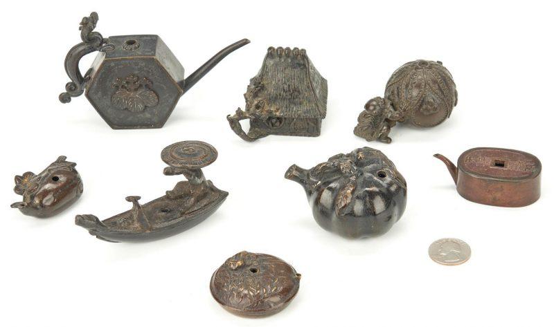 Lot 319: 8 Asian Bronze Incense Burners, incl. Figural