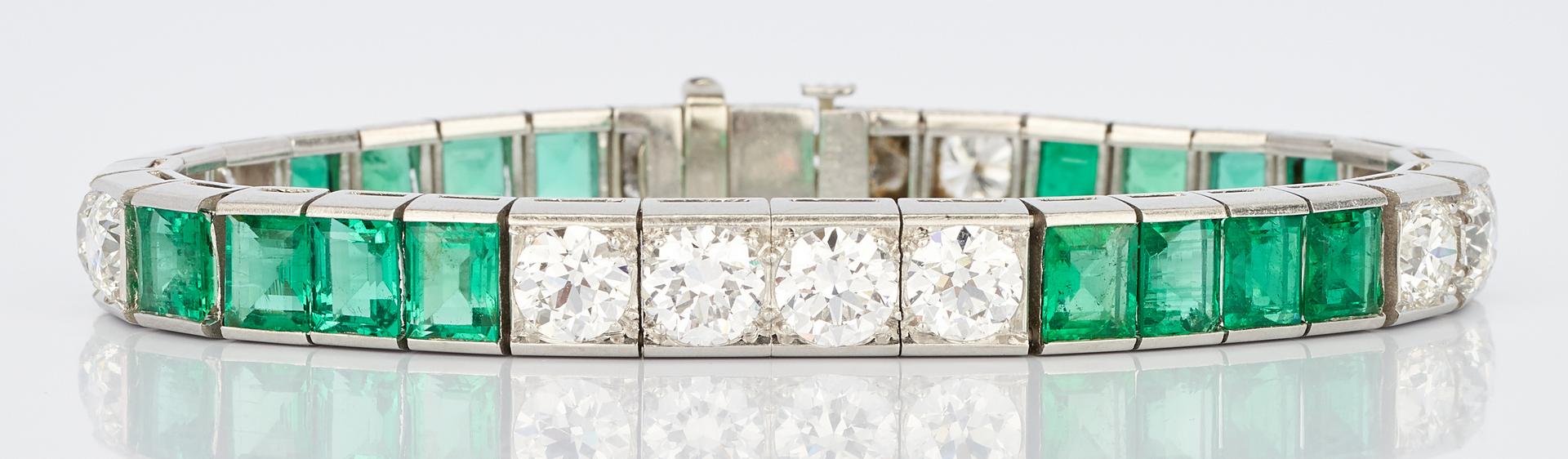 Lot 31: Ladies Platinum Diamond and Emerald Bracelet