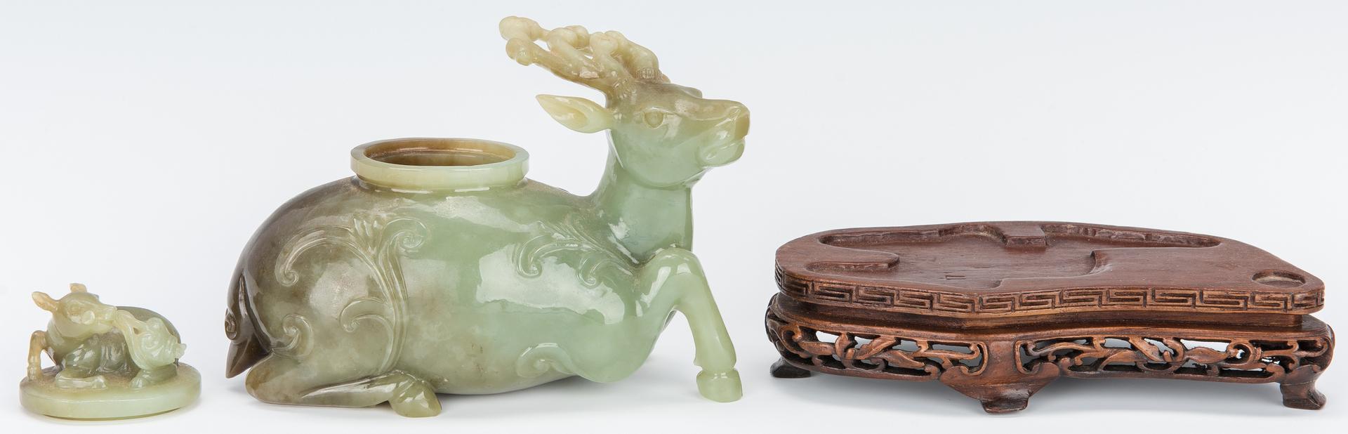 Lot 321: Chinese Jade Carved Figural Box, Deer w/ Deer Top