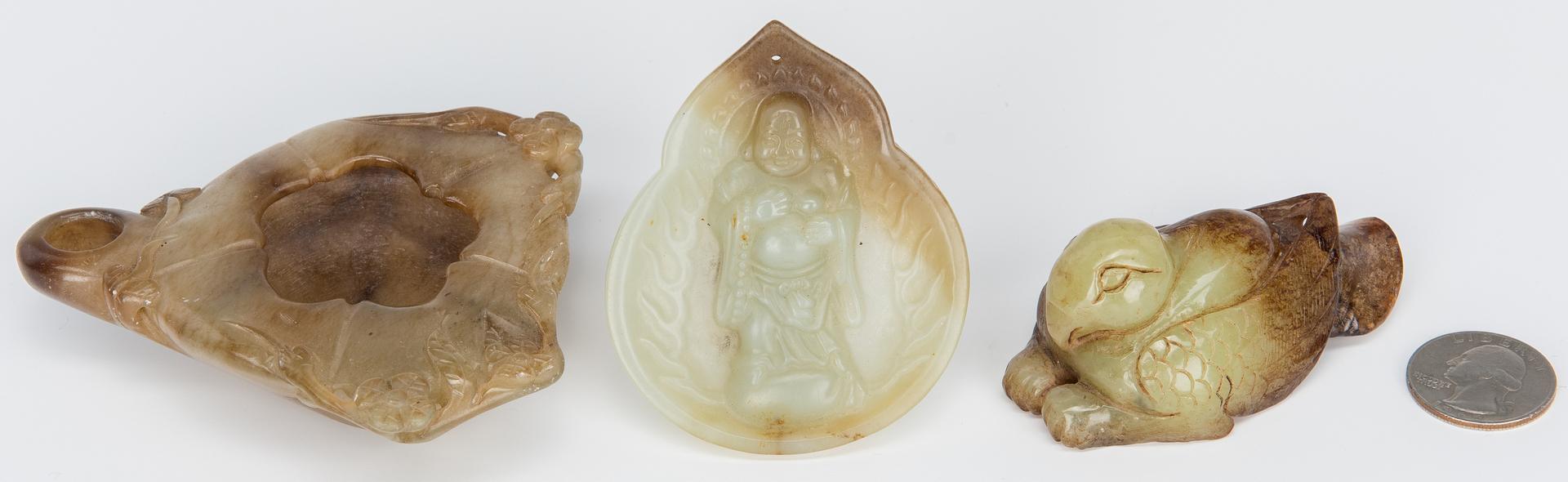 Lot 324: 3 Chinese Jade Items, incl. Buddha, Brush Pot & Bird