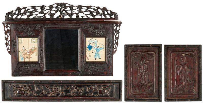 Lot 327: Asian Carved Shelf & 3 Hardwood Plaques