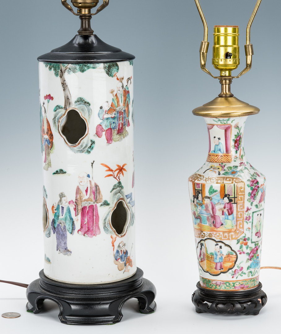 Lot 331: 2 Chinese Export Famille Rose Porcelain Lamps