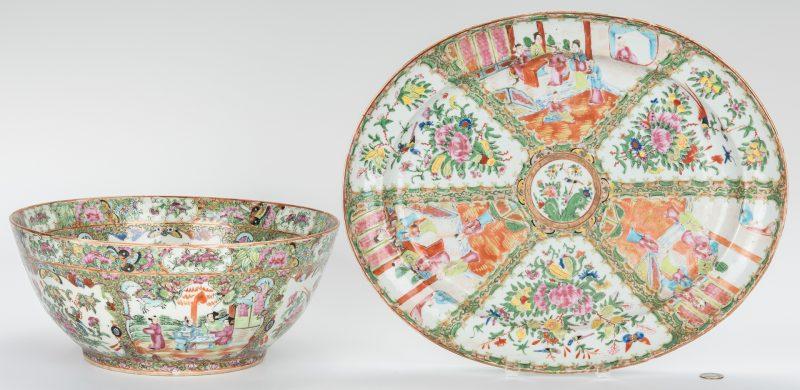 Lot 332: Chinese Rose Medallion Porcelain Punch Bowl & Platter