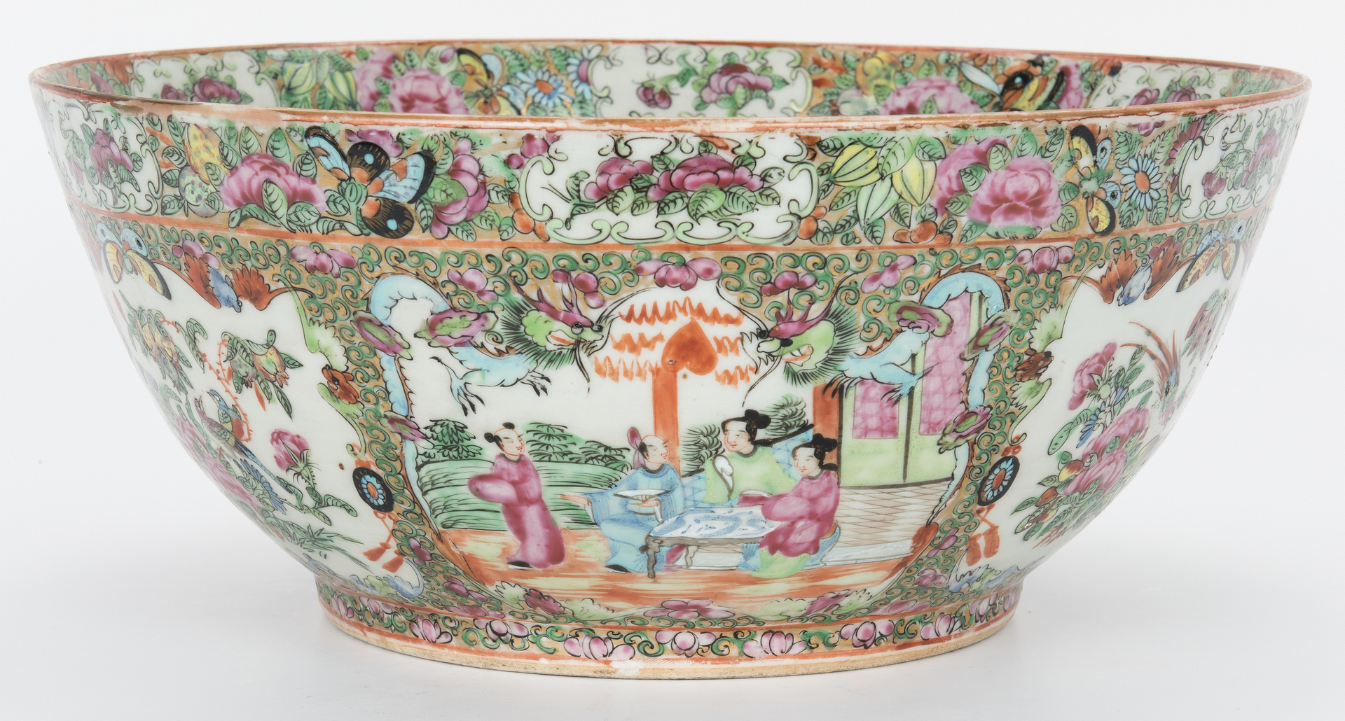 Lot 332: Chinese Rose Medallion Porcelain Punch Bowl & Platter