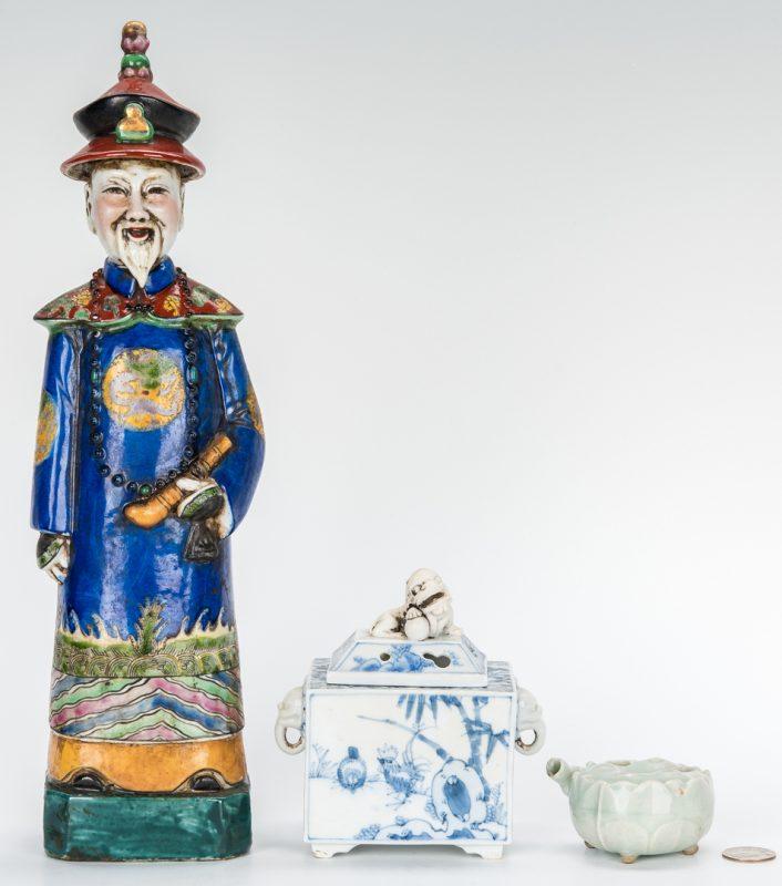 Lot 335: 3 Chinese Ceramic Items, incl. Incense Burners