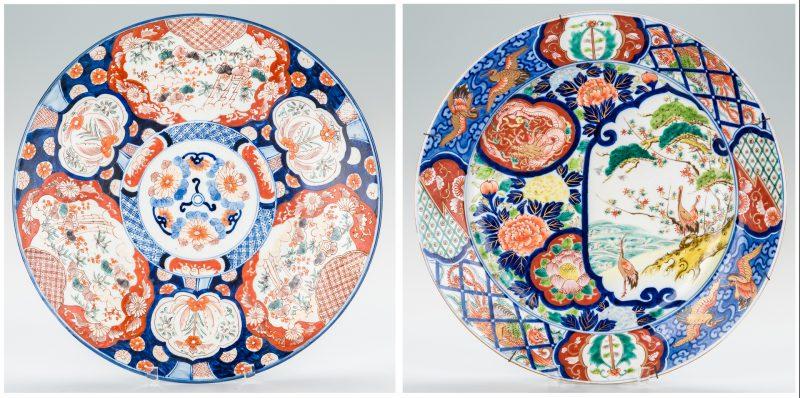 Lot 338: 2 Large Japanese Imari Porcelain Chargers
