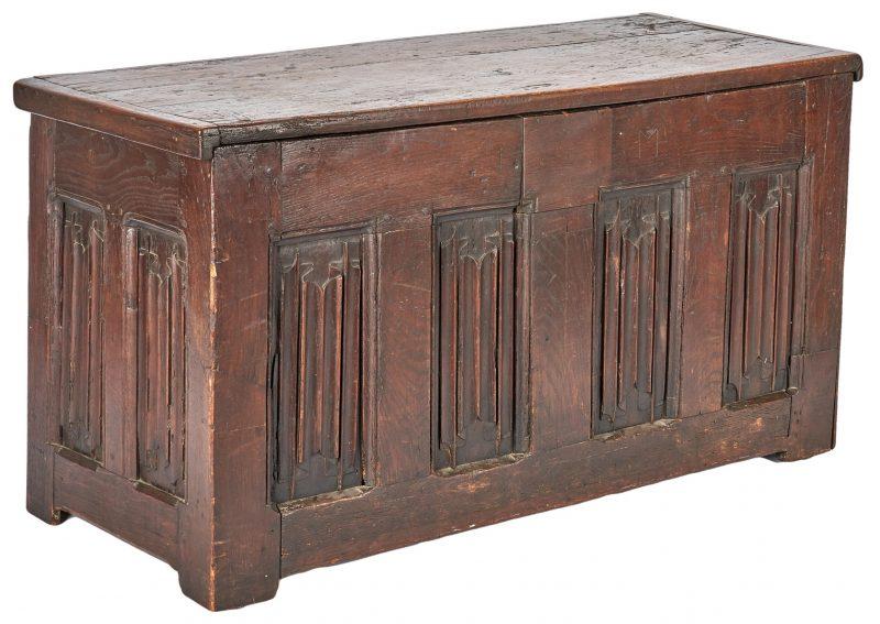 Lot 351: Early Oak Coffer with Linenfold Panels