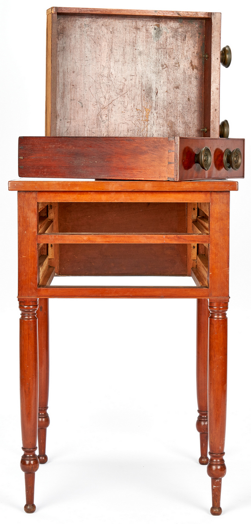 Lot 354: Cherry Sheraton Stand & Miniature Chest of Drawers