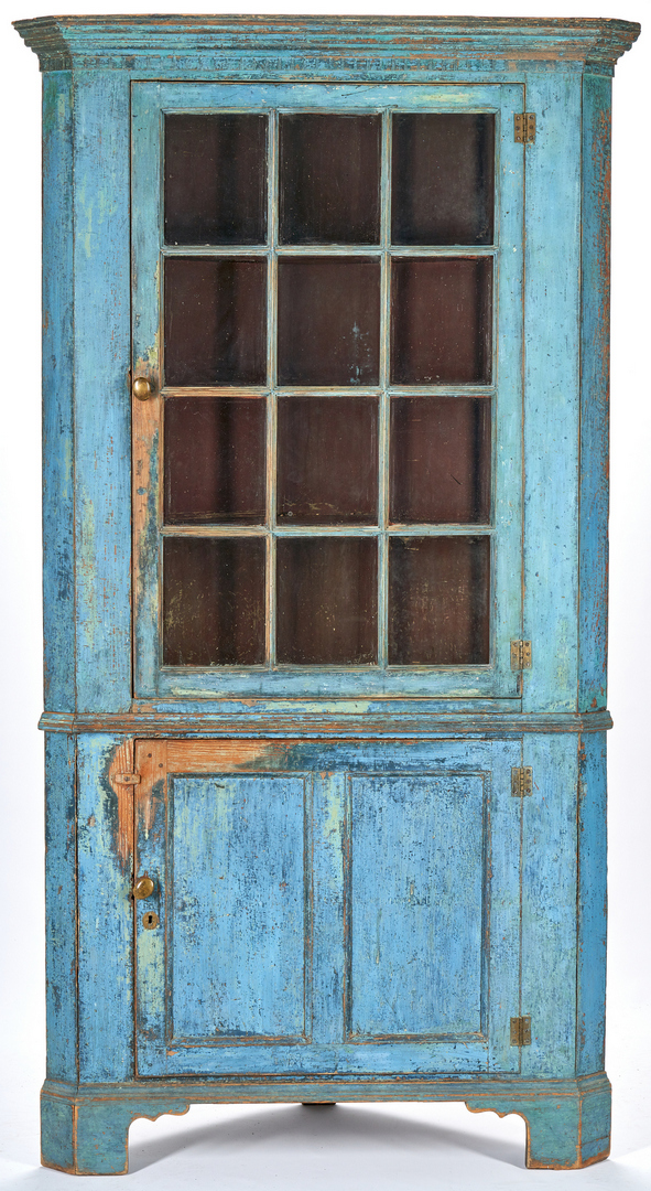 Lot 355: Southern/Mid-Atlantic Blue Painted Corner Cupboard