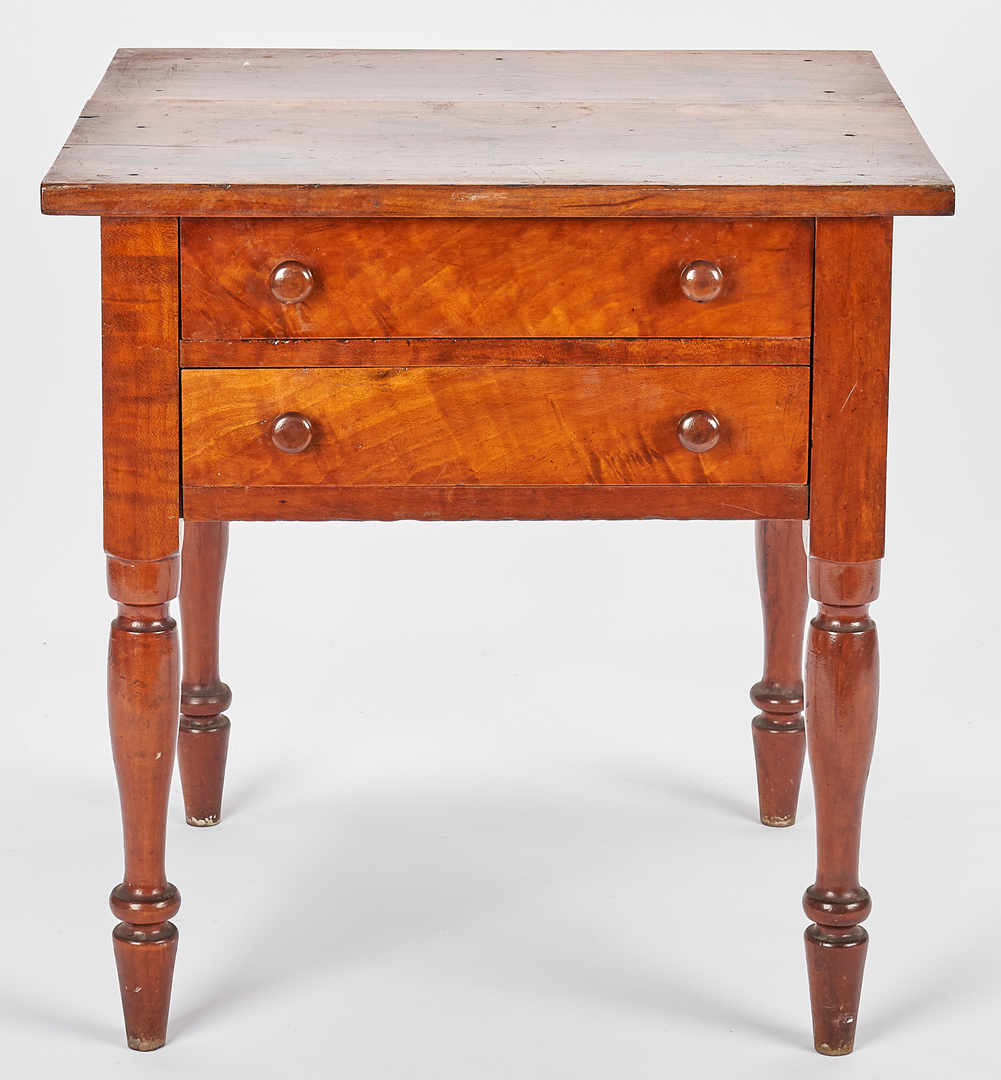 Lot 356: Middle TN 2-Drawer Cherry Table & 1 Drawer Cherry Stand