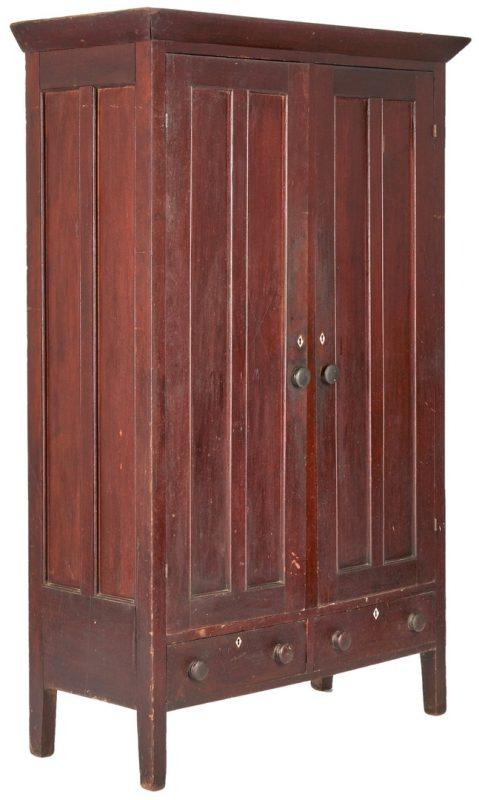 Lot 358: Middle TN Double-Paneled Armoire, Original Surface