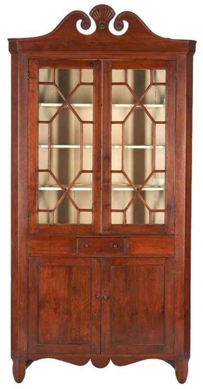 Lot 366: East TN Cherry Corner Cupboard, poss. Jacob Fisher