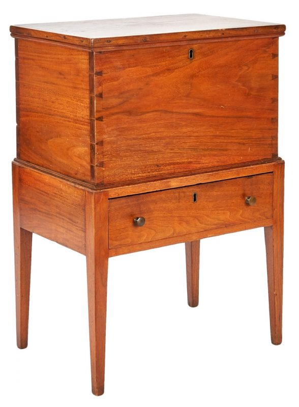 Lot 368: Southern Walnut Hepplewhite Sugar Chest
