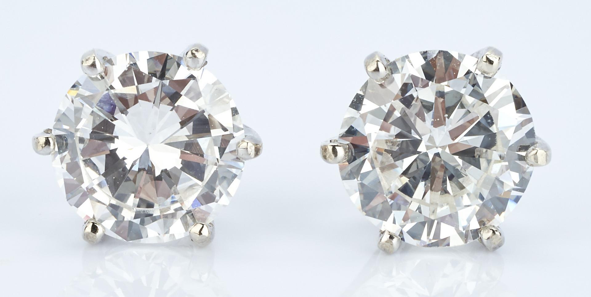 Lot 36: 14K Pair 2 CTW Diamond Stud Earrings