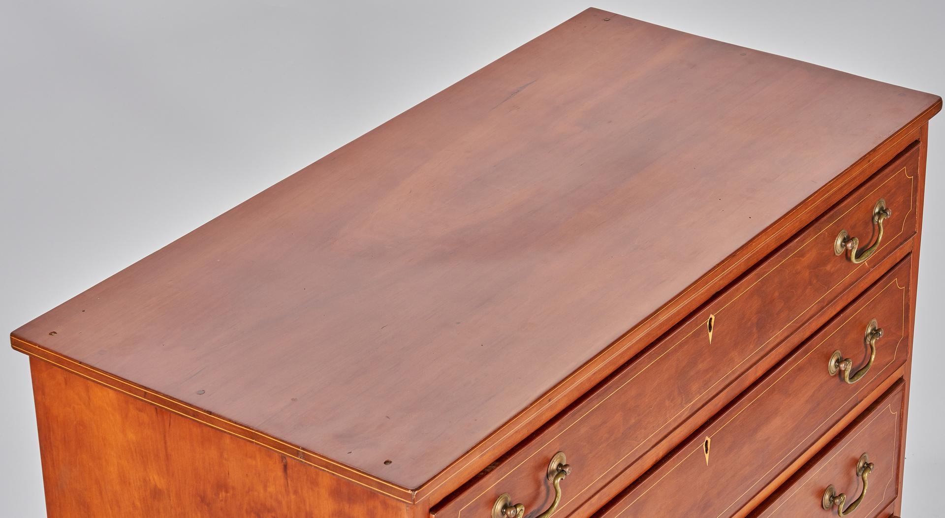 Lot 372: Cherry Hepplewhite Inlaid Chest of Drawers