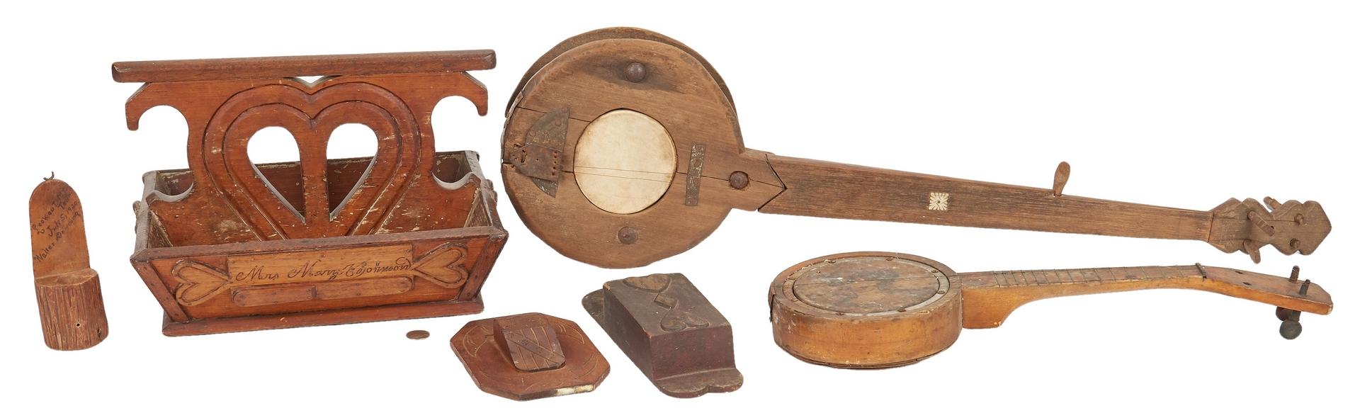 Lot 377: Southern Folk Art Box, 2 banjos, 3 Match Safes