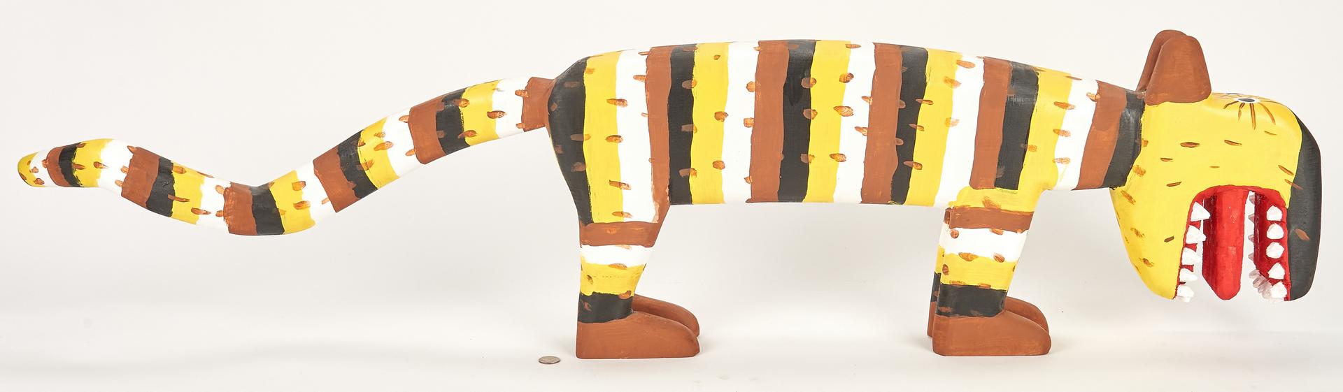 Lot 380: Adkins Folk Art Carved & Painted Pole Cat