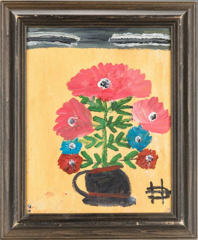 Lot 387: Clementine Hunter painting, Bouquet of Flowers