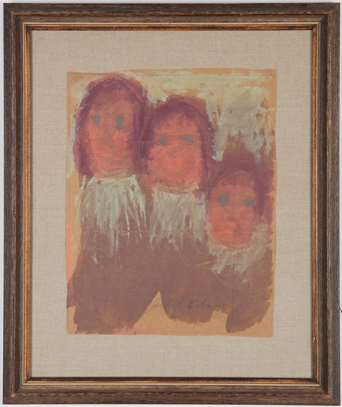 Lot 390: Sybil Gibson Outsider Painting, Three Children